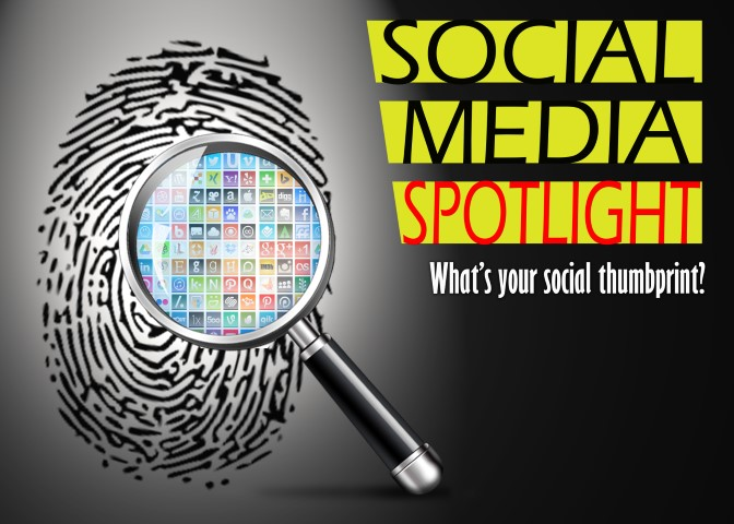 Social Media Spotlight - Magnifying glass over thumbprint with social media icons
